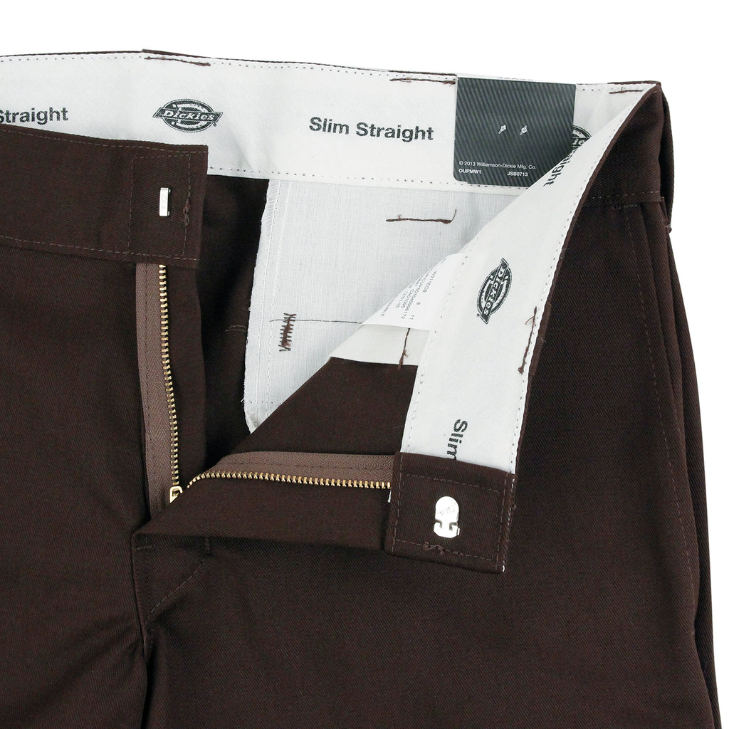 Dickies 873 Slim Straight Work Pant in Chocolate - Unzipped