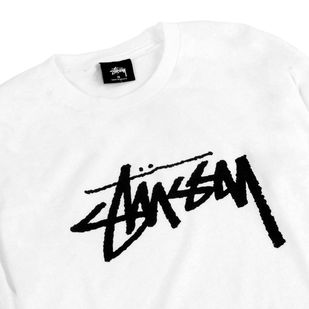 Stussy Stock L/S T Shirt in White - Detail