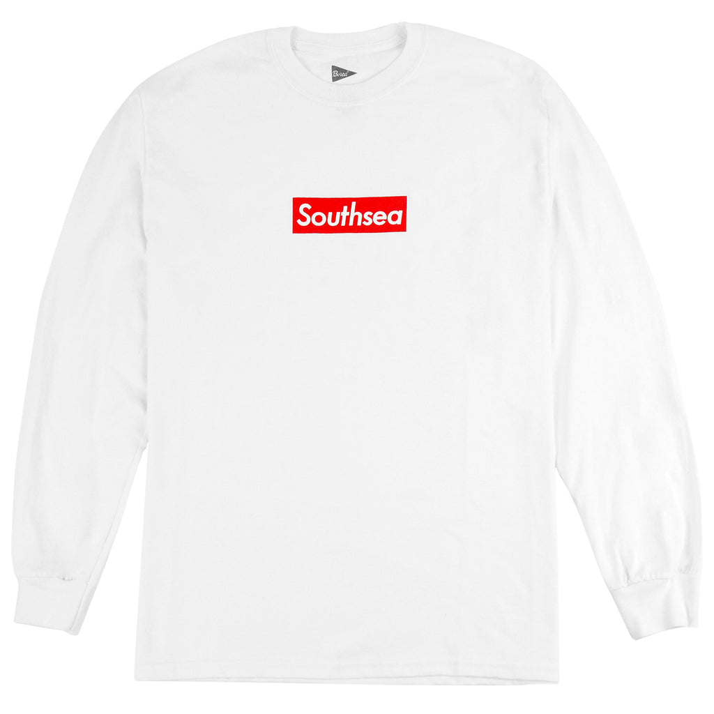 "Bored of Southsea ""Southsea"" Long Sleeve T Shirt in White / Red Box"