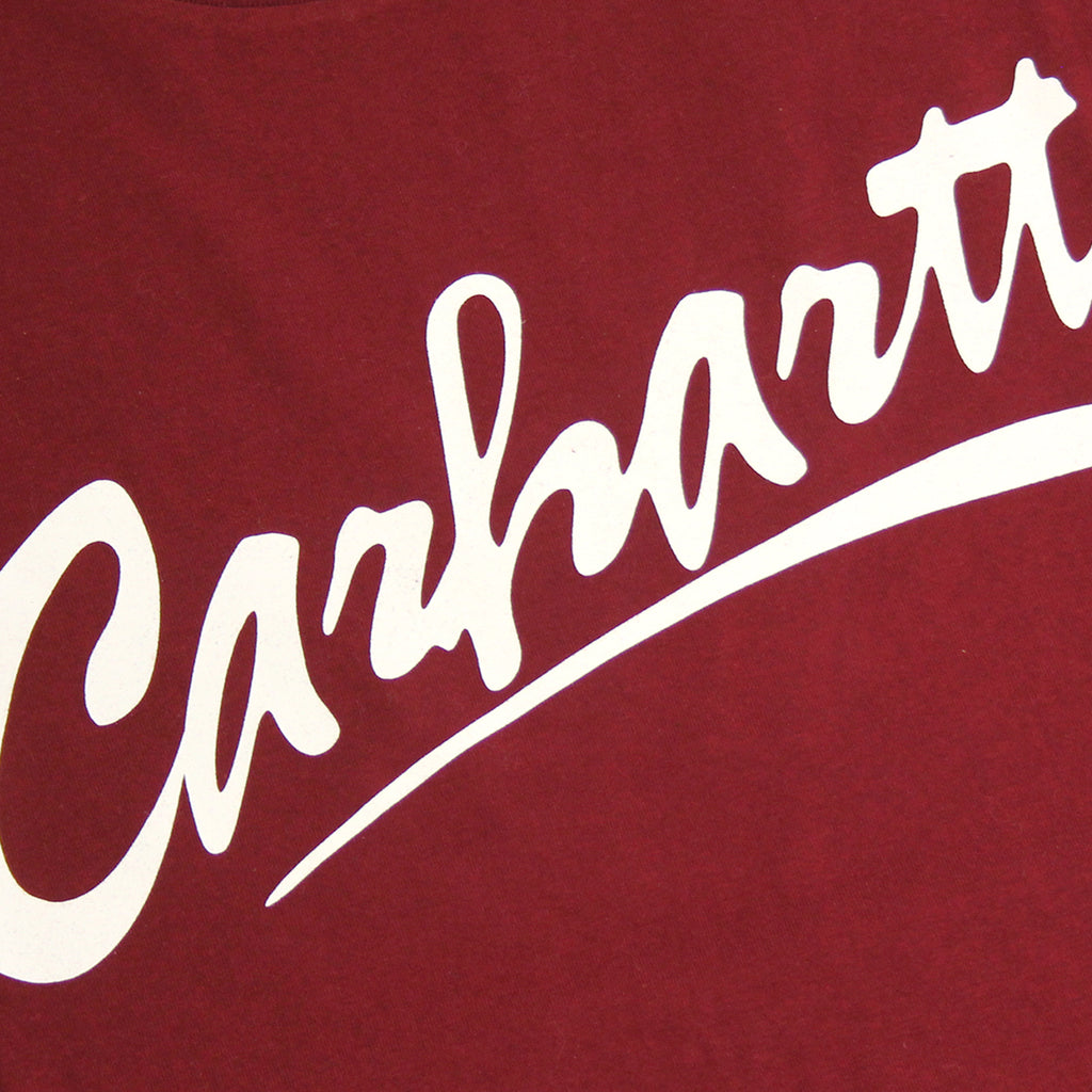 Carhartt Brush T Shirt in Cranberry / White - Print detail