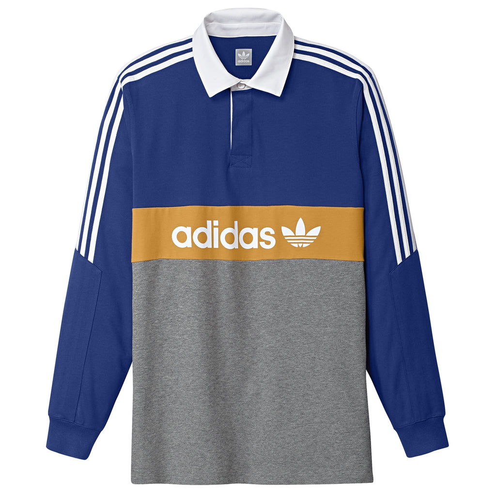 Adidas Heritage Polo Shirt in Collegiate Royal / Core Heather / Tactile Yellow / White