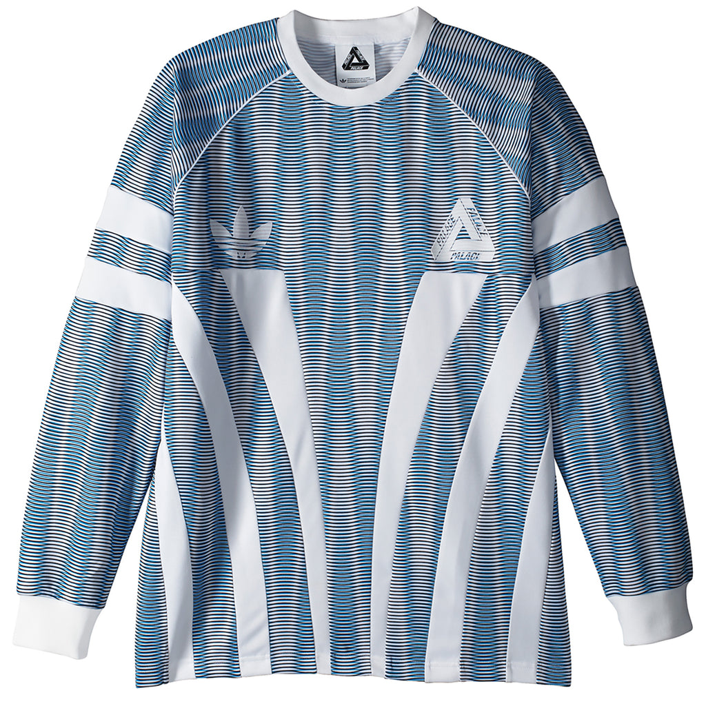 Palace x Adidas Graphic Goalie Shirt in Bold Aqua / White