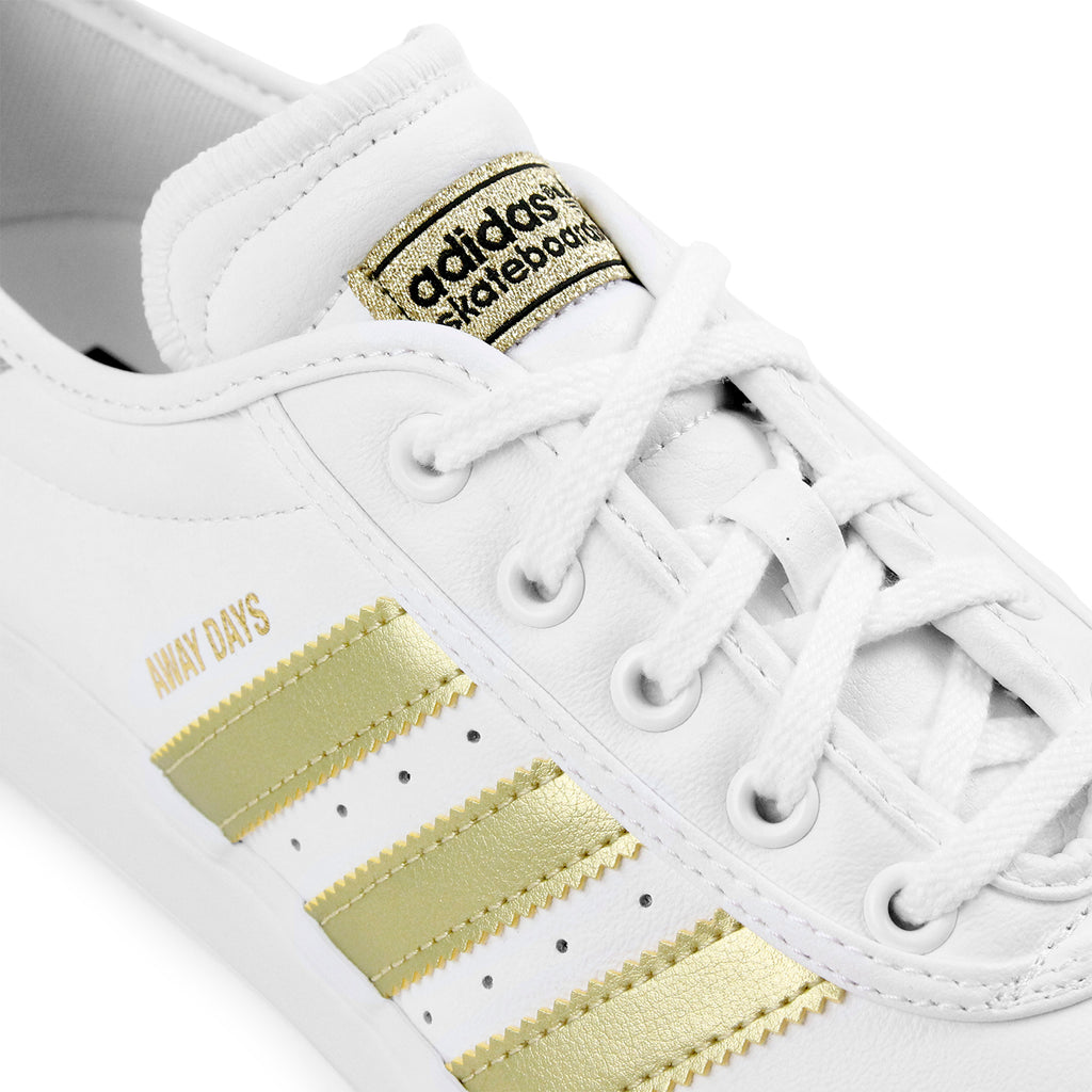 "Adidas Skateboarding Adi Ease Premiere ""Away Days"" Shoes - White / Gold Metallic / Gum - Lace"
