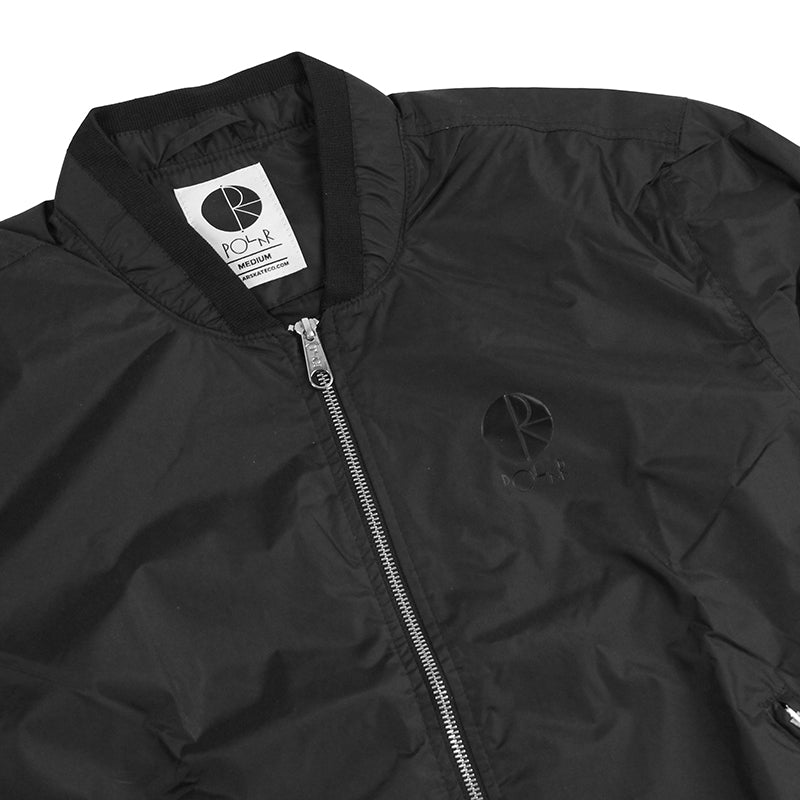 Polar Skate Co Fill Logo Chest Sporty Bomber in Black / Black - Front