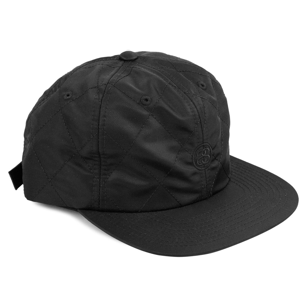 Stussy Quilted Strapback Cap in Black