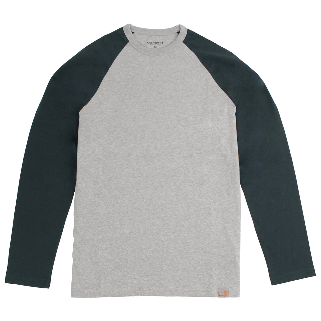 Carhartt Dodgers L/S T Shirt in Heather Grey / Dark Petrol