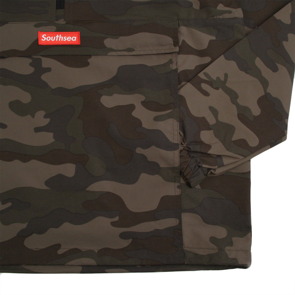 "Bored of Southsea ""Southsea"" Windbreaker Anorak Jacket in Camo - Detail"