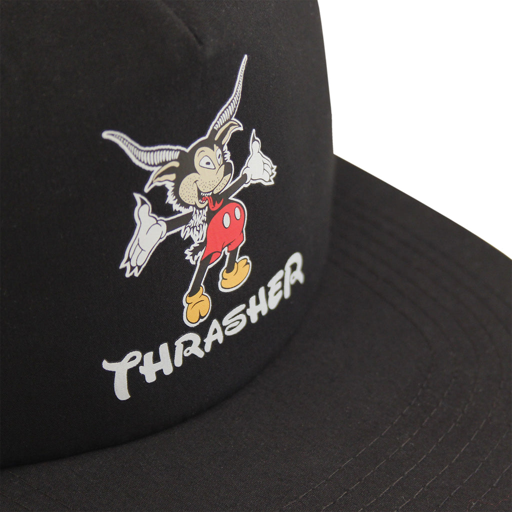Thrasher Mousegoat Snapback Cap in Black - Details
