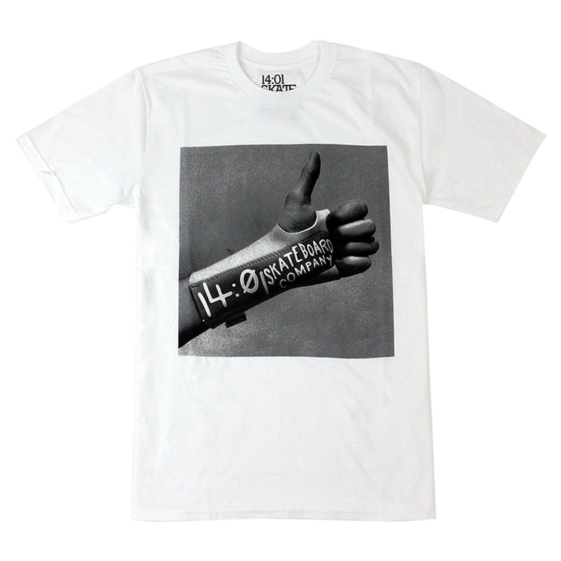 14:01 Skateboard Co Thumbs Up T Shirt in White