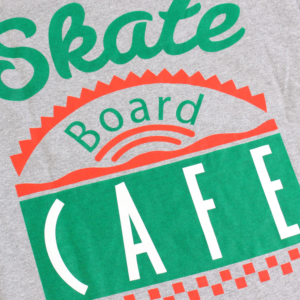 Skateboard Cafe Diner L/S T Shirt in Heather Grey - Print