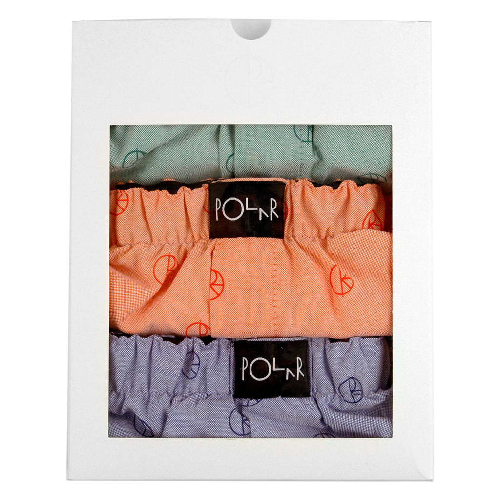 Polar Skate Co 3 Pack Boxer Shorts in Blue / Peach / Mint