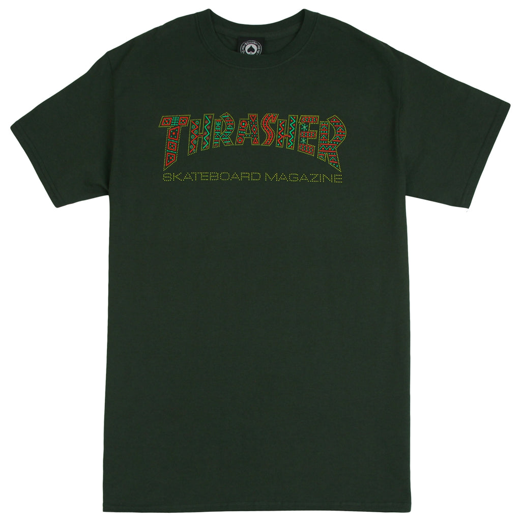 Thrasher Davis T Shirt in Forest Green