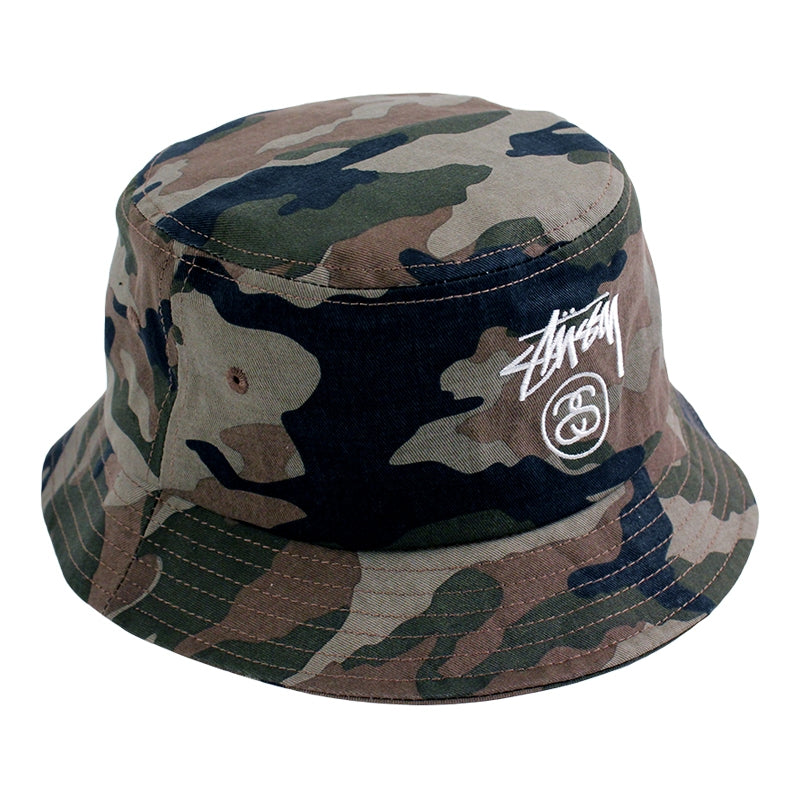 Stussy Stock Lock Bucket Hat in Olive Camo