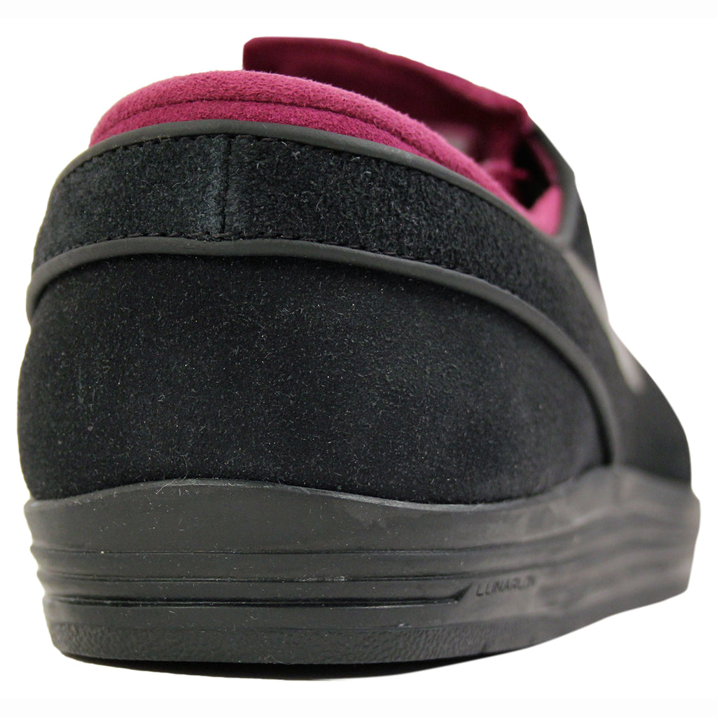 Nike SB Lunar Stefan Janoski Shoes in Black / Black / Mulberry - Heel