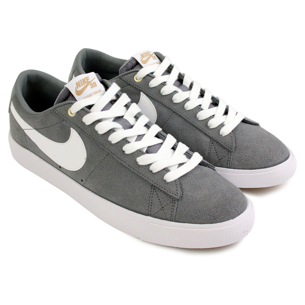 Nike SB Blazer Low Grant Taylor Shoes in Cool Grey / White / Tide Pool Blue - Paired