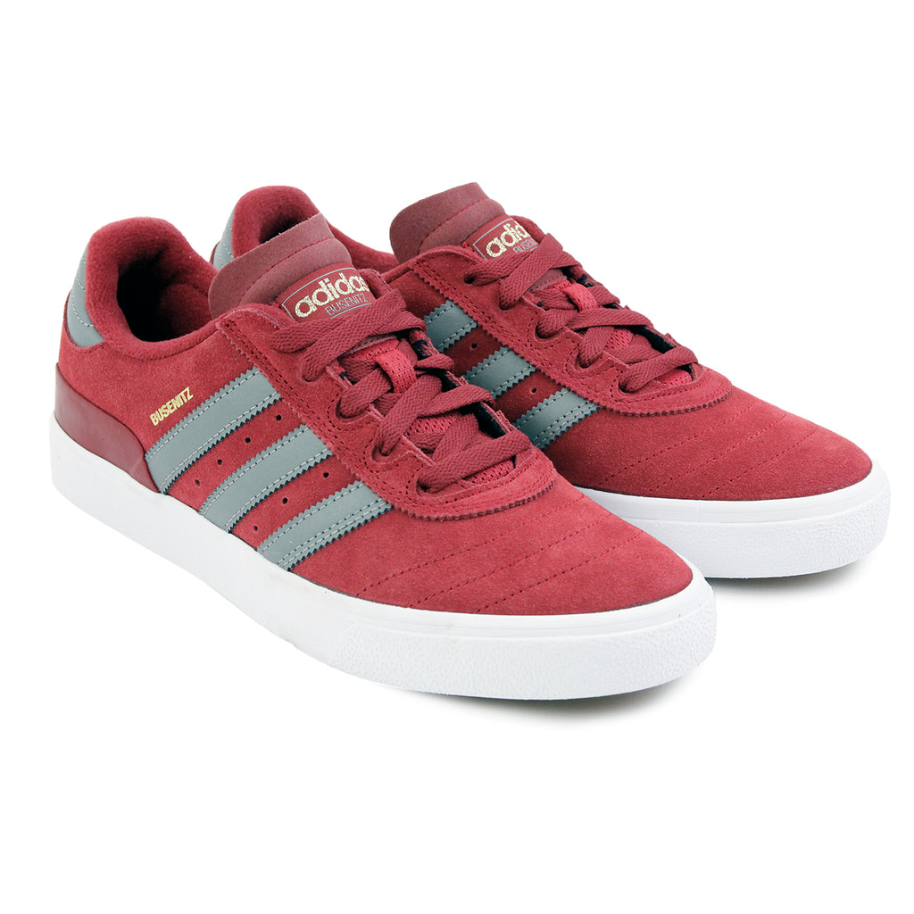 Adidas Skateboarding Busenitz Vulc Shoes in Collegiate Burgundy / CH Solid Grey / FTW White - Paired