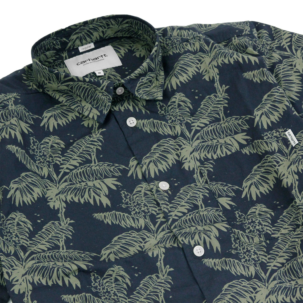Carhartt S/S Ron Ghetto Palm Shirt in Dark Navy / Bog - Detail