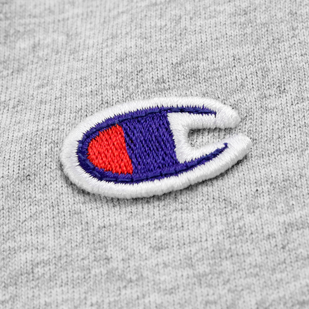 Champion L/S Crew Neck T Shirt in Grey Melange - Label