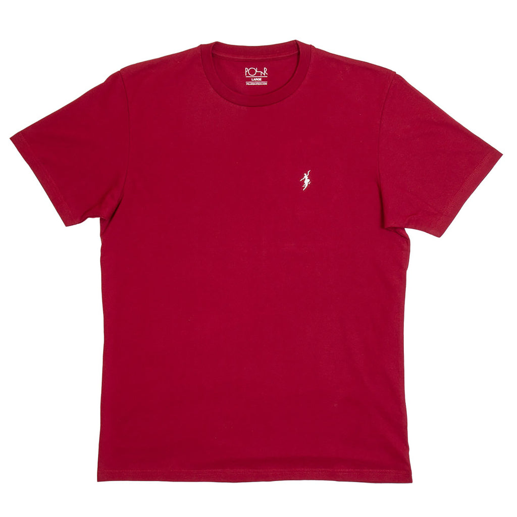 Polar Skate Co No Comply T Shirt in Red Wine / White