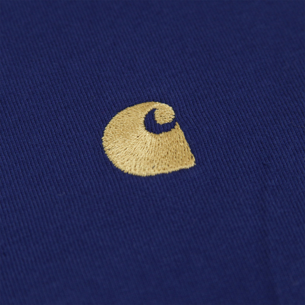 Carhartt L/S Chase T Shirt in Metro Blue / Gold - Logo