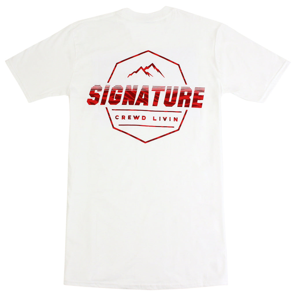 Signature Clothing Jungle Mach Peak T Shirt in White / Cardinal