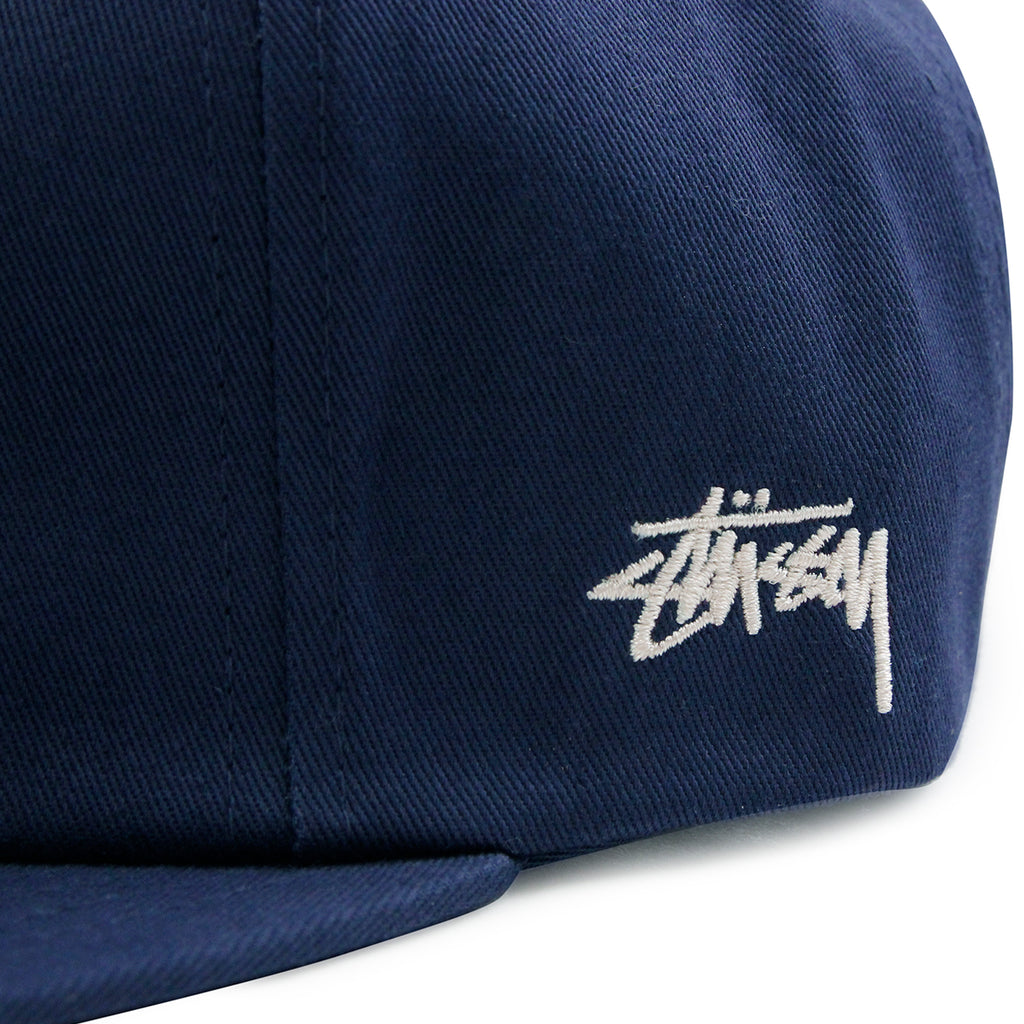 Stussy Classic S Strapback Cap in Navy - Embroidery side