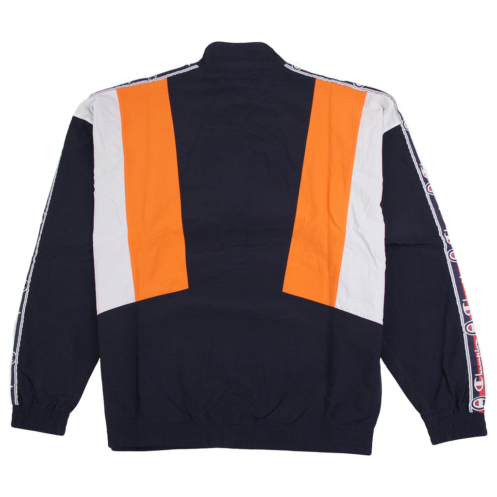 Champion Reverse Weave Taped Track Jacket in Navy / Bright Orange / White - Back