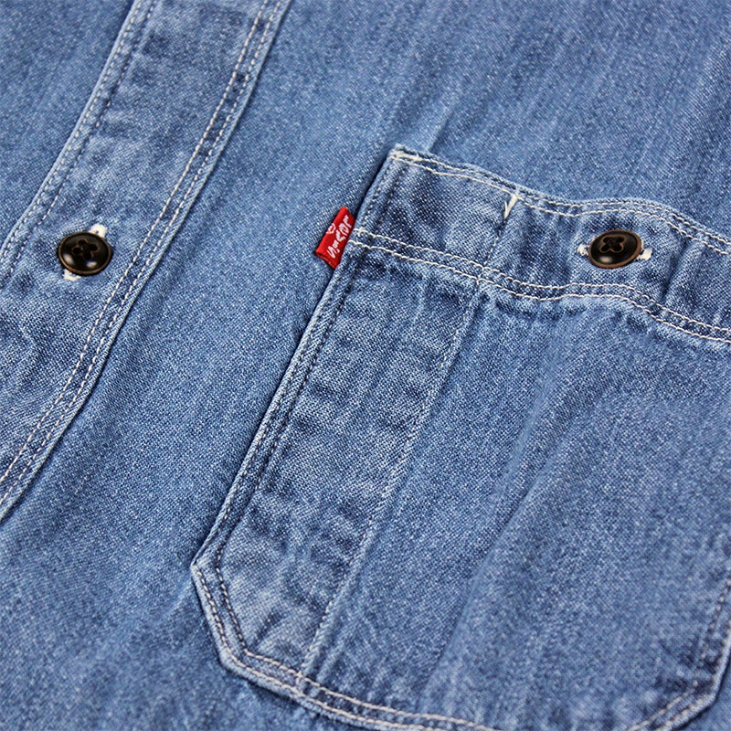 Levis Skateboarding Maintenance Denim Shirt in Chambray Washdown - Label