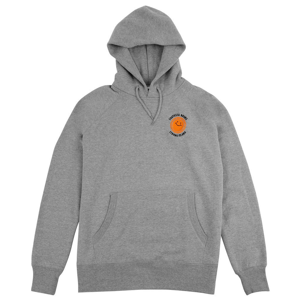 Southsea Bronx Strong Island Embroidered Hoodie in Heather Grey