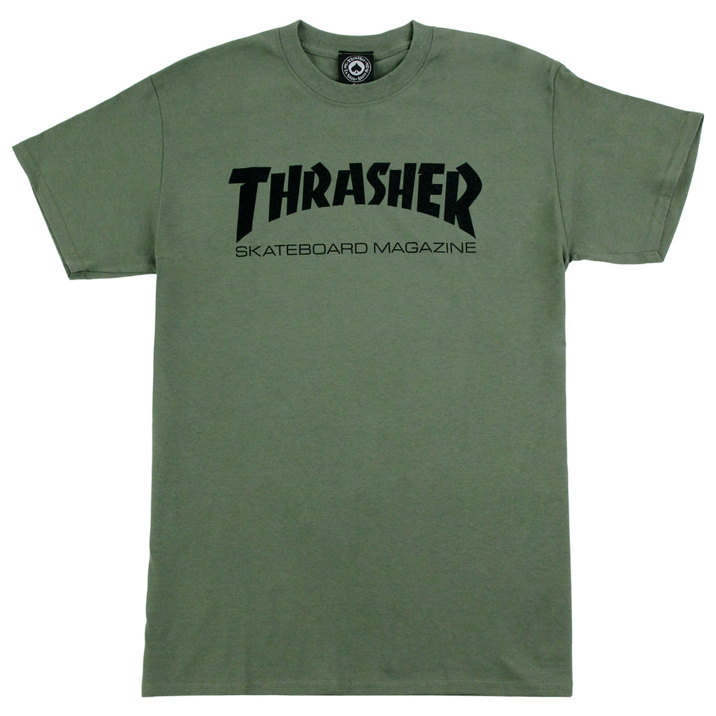 Thrasher Skate Mag Logo T Shirt in Army Green