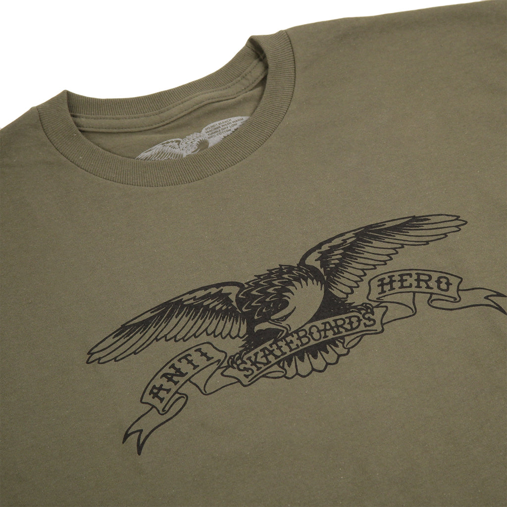 Anti Hero Skateboards Basic Eagle T Shirt in Military Green / Black - Detail