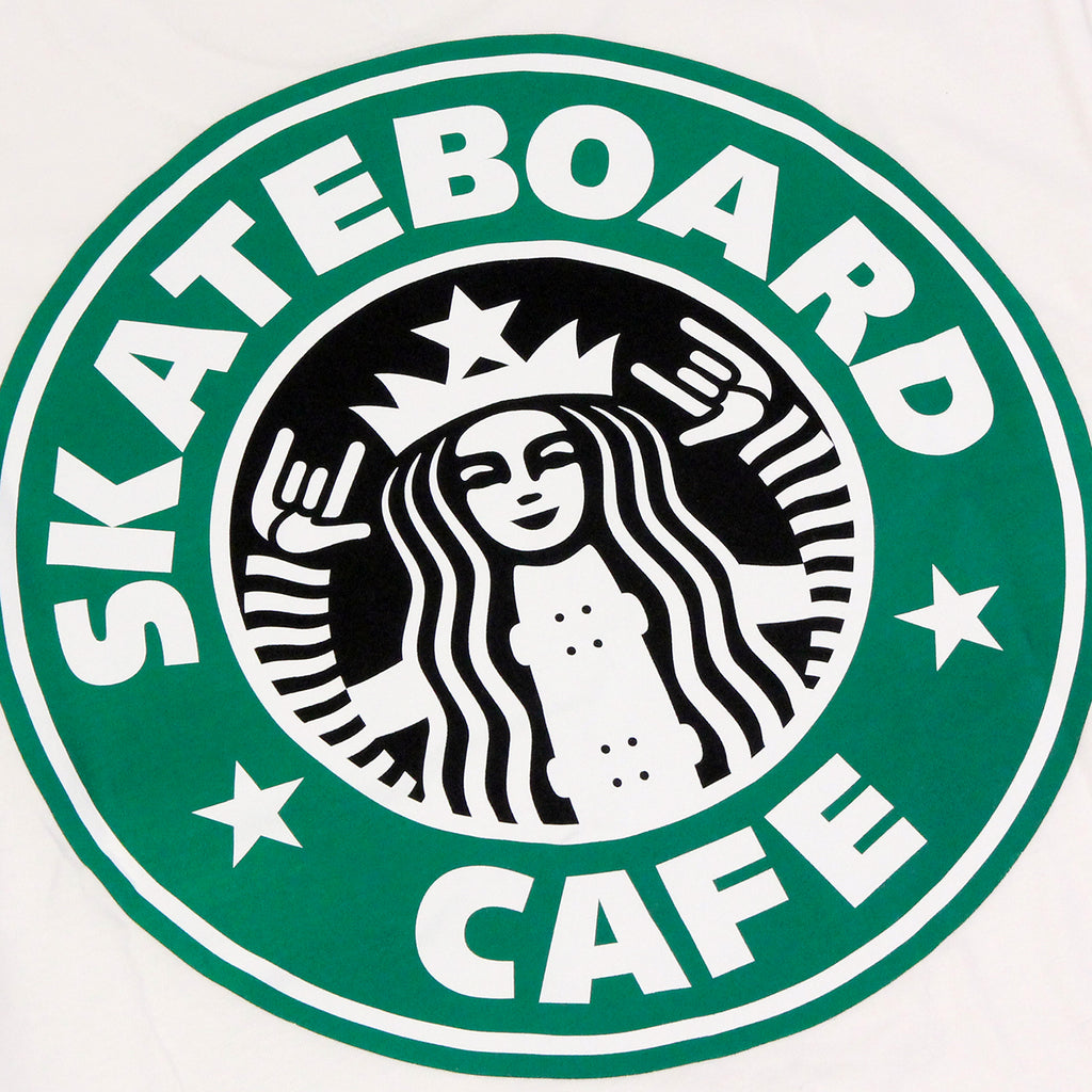 Skateboard Cafe Starf*cks T Shirt in White - Back print