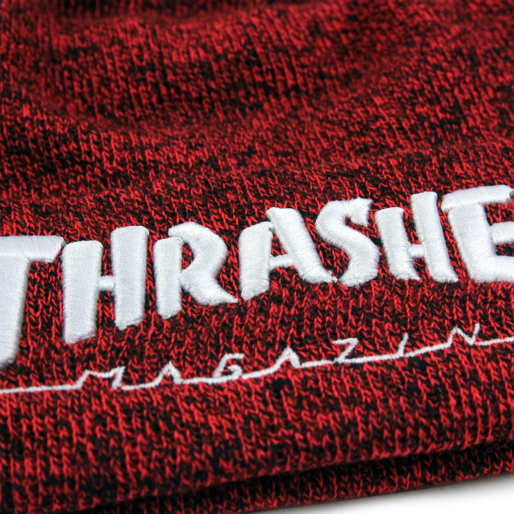 Thrasher Embroidered Logo Beanie in Heather Red / White - Embroidery