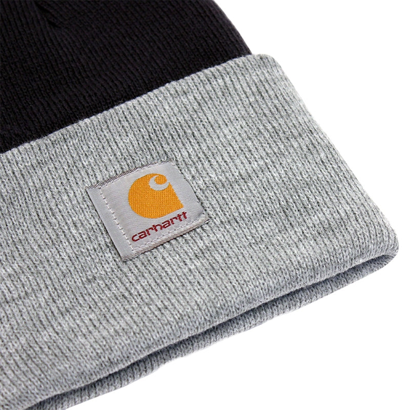 Carhartt WIP Bi-Colored Acrylic Watch Hat in Jet / Heather Grey - Detail