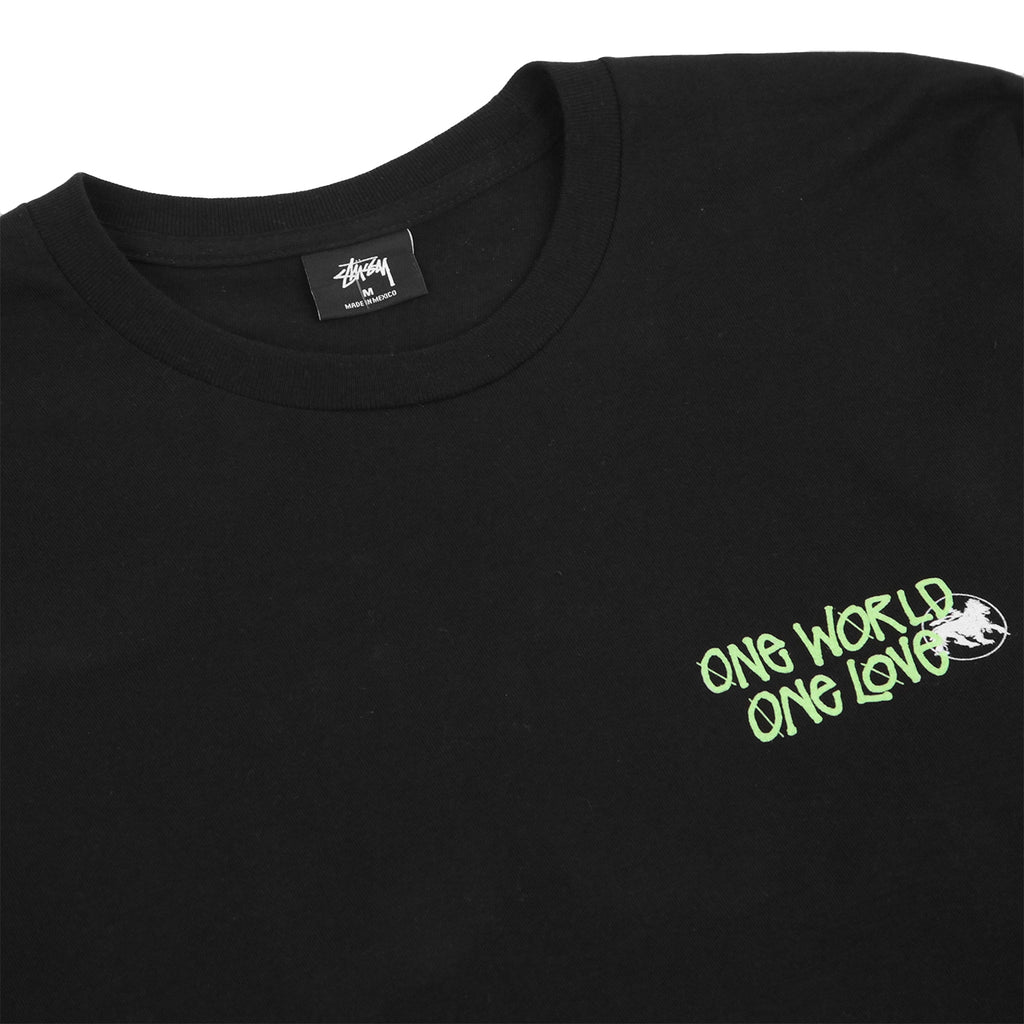 Stussy One World L/S T Shirt in Black - Detail