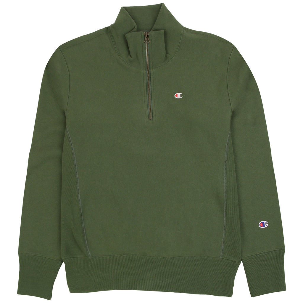 Champion Reverse Weave Half Zip Sweatshirt in Bottle Green