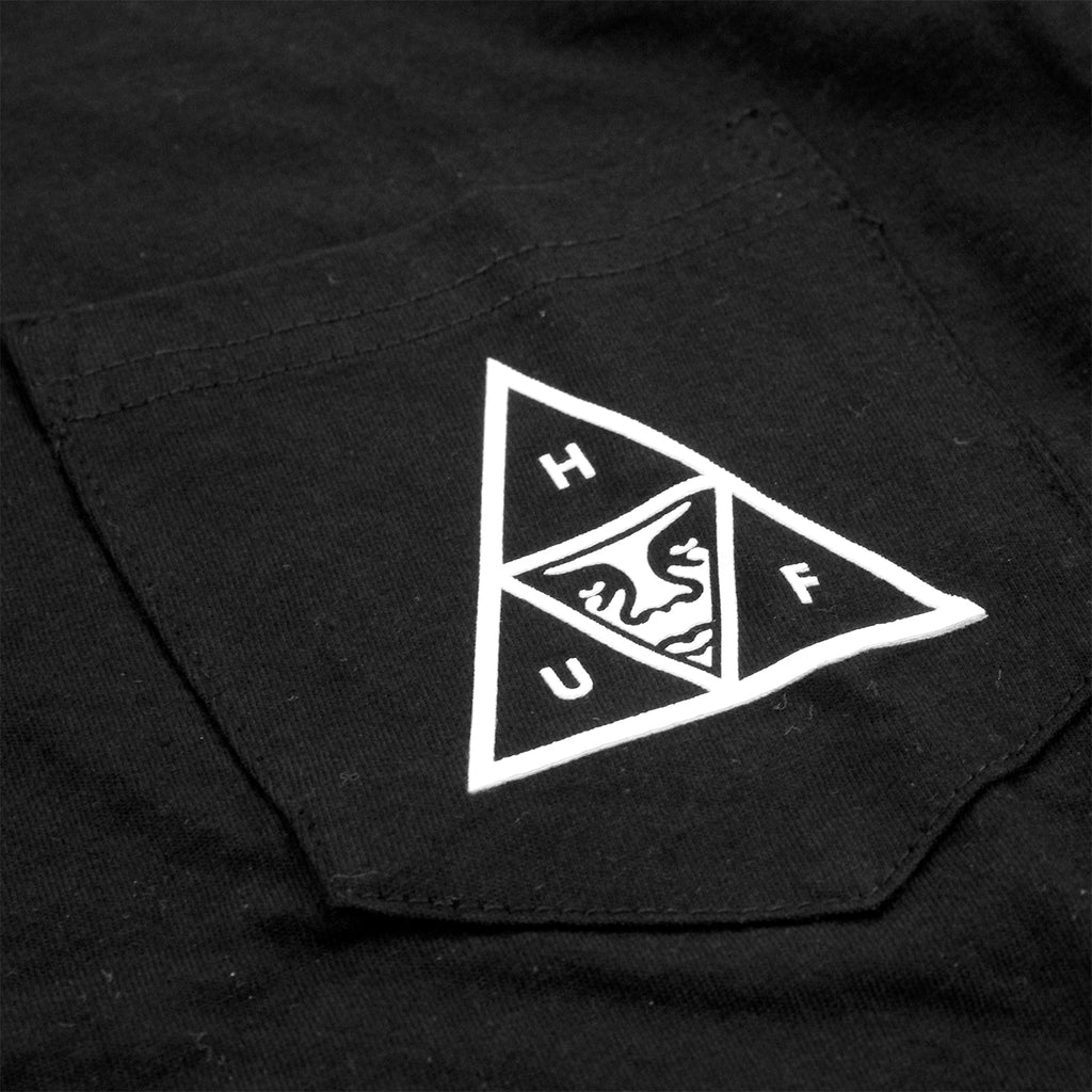 HUF x Obey Triple Triangle Pocket T Shirt in Black - Pocket