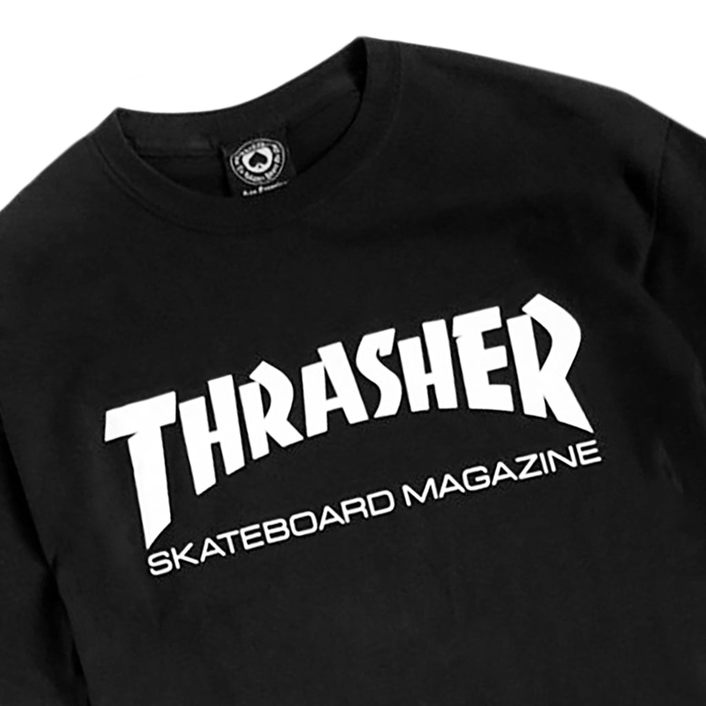 Thrasher Skate Mag Logo L/S T Shirt in Black/White - Detail