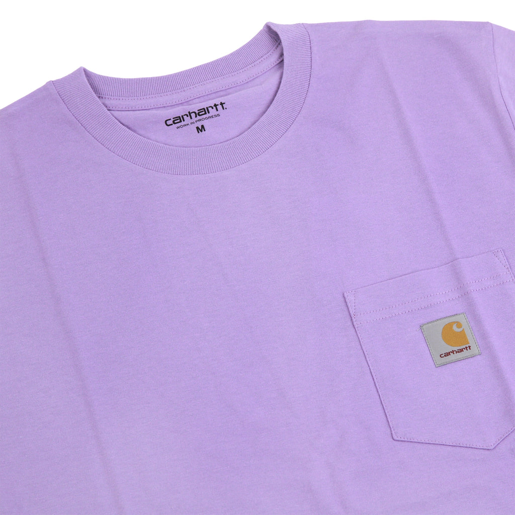 Carhartt Pocket T Shirt in Soft Purple - Detail