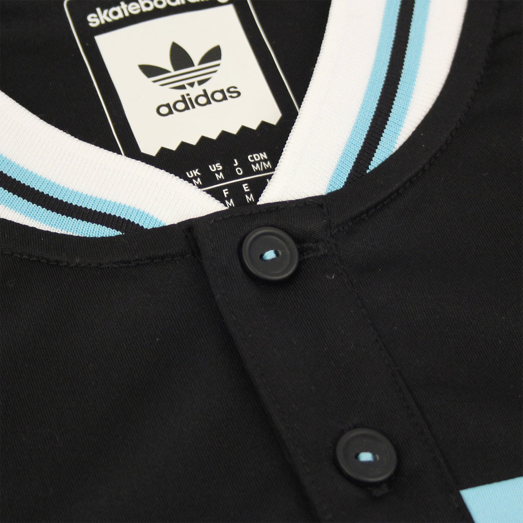 Adidas Skateboarding x Welcome Jersey in Black / Light Aqua - Button