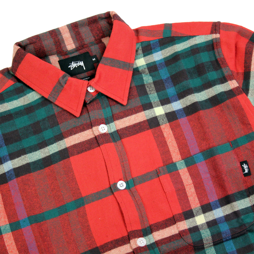 Stussy Big Plaid L/S Shirt in Red - Detail