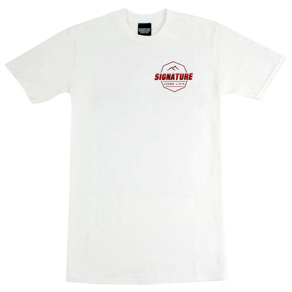 Signature Clothing Jungle Mach Peak T Shirt in White / Cardinal - Front