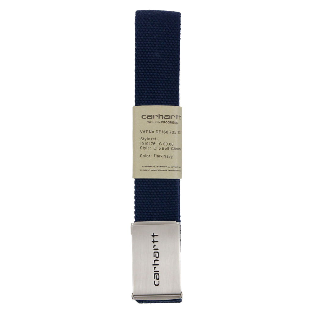 Carhartt Clip Belt Chrome in Dark Navy - Profile