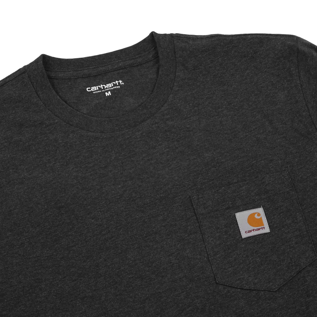 Carhartt L/S Pocket T Shirt in Black Heather - Detail