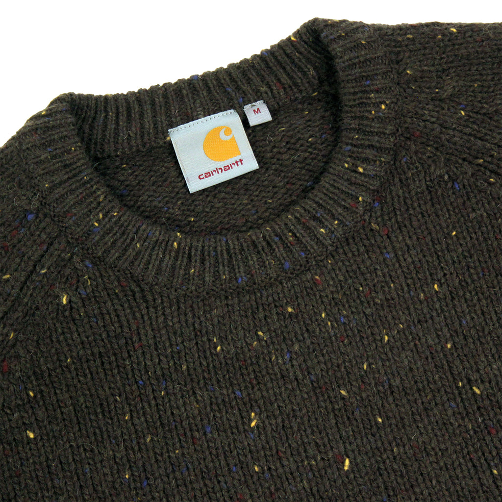 Carhartt Anglistic Sweater in Blackforest Heather - Detail