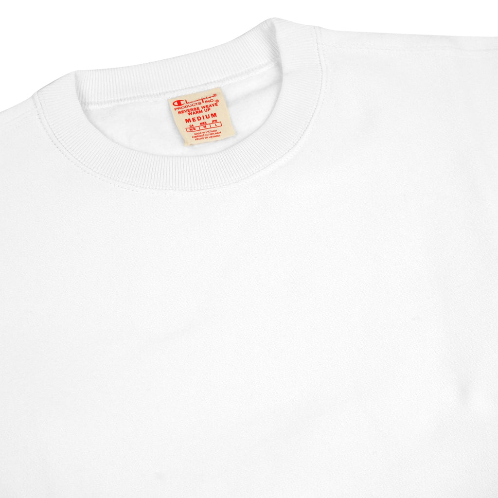Champion Reverse Weave Training Crew Sweatshirt in White - Detail