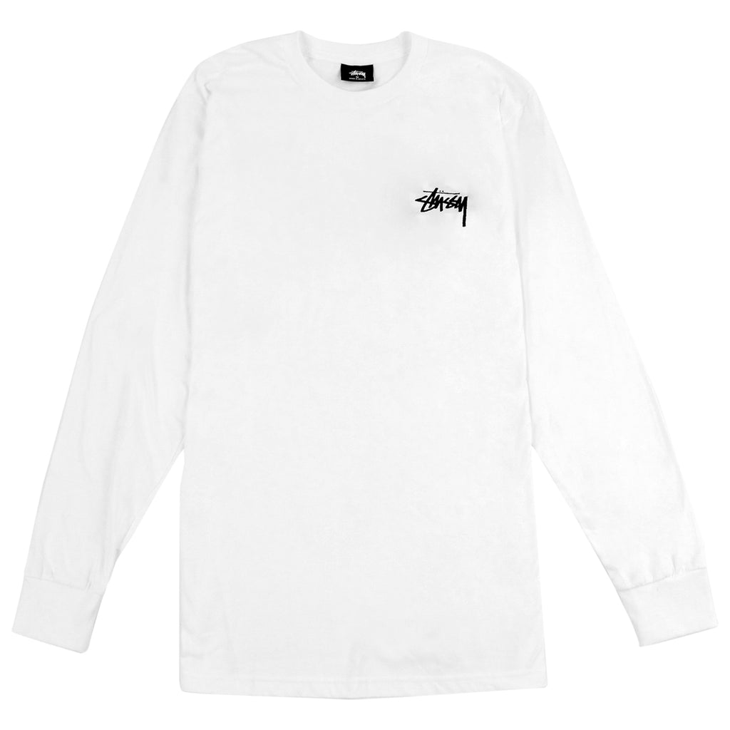 Stussy Original Stock L/S T Shirt in White
