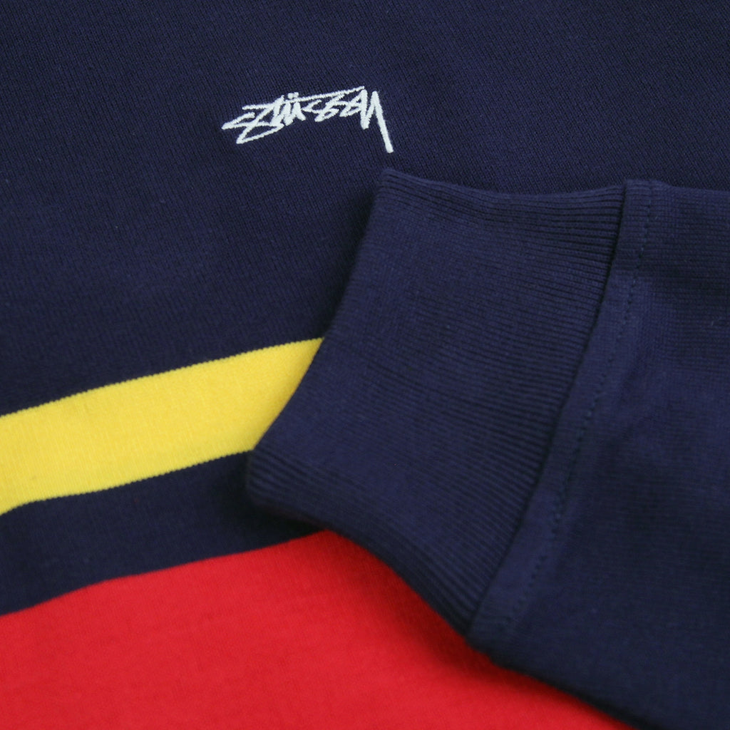 Stussy Lucas Stripe L/S Rugby Shirt in Navy - Cuff