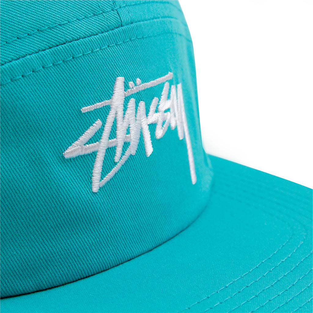 Stussy Stock 5 Panel Cap in Teal - Detail