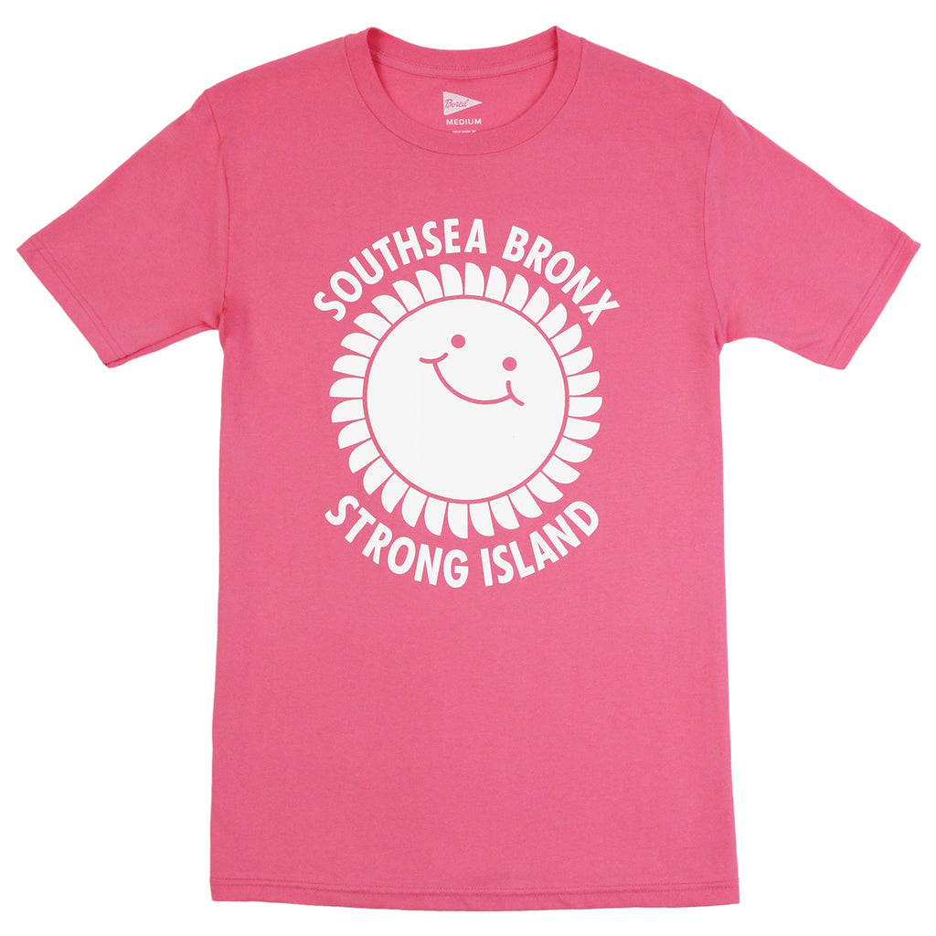 Southsea Bronx Strong Island T Shirt in White on Pink